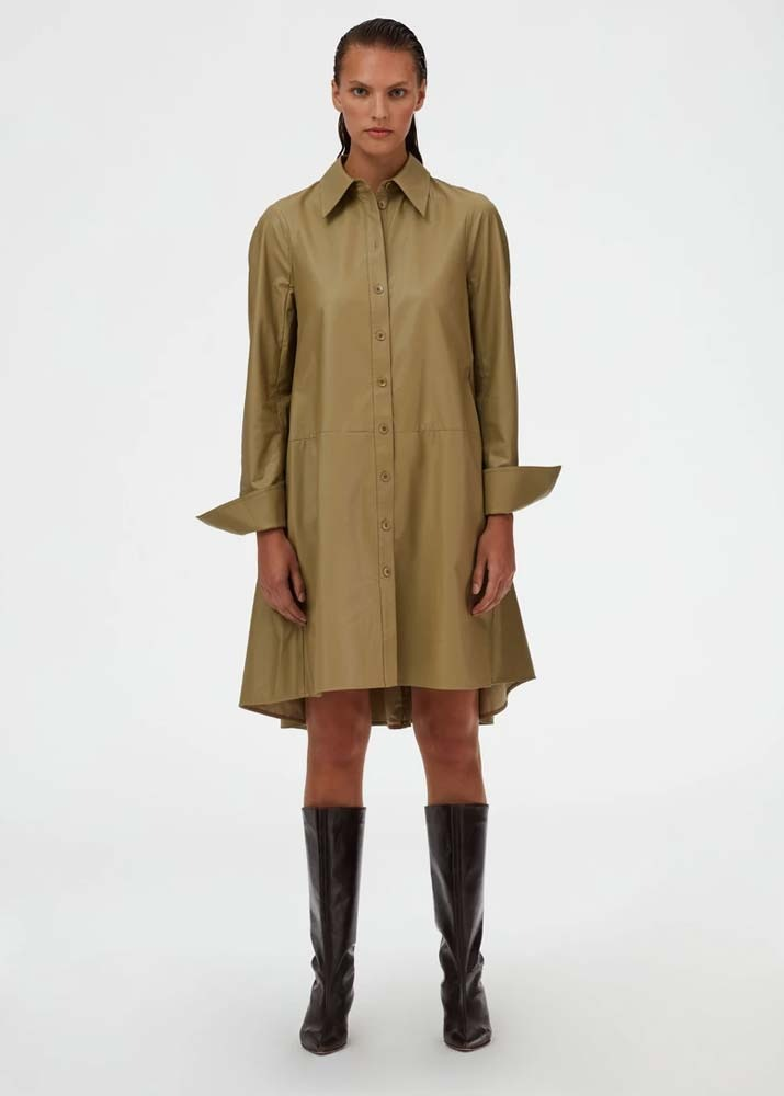 TIBI _ Tissue Faux Leather Shirt Dress