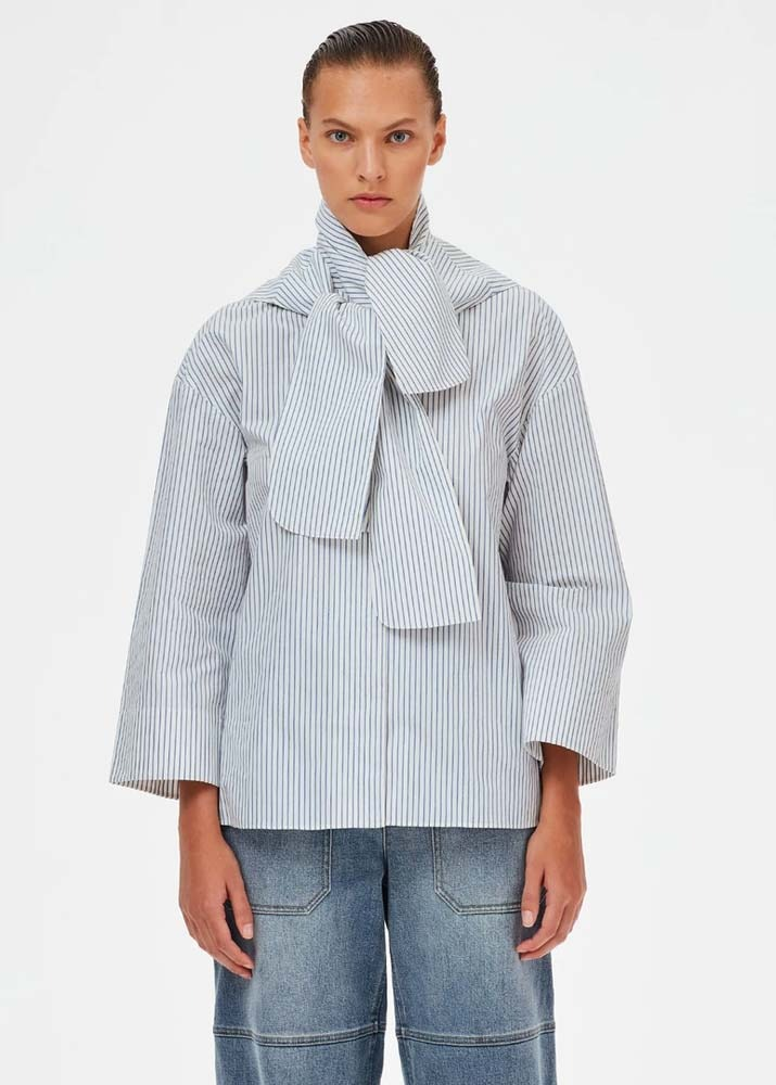 TIBI _ Jacob Stripe Flap Shirt