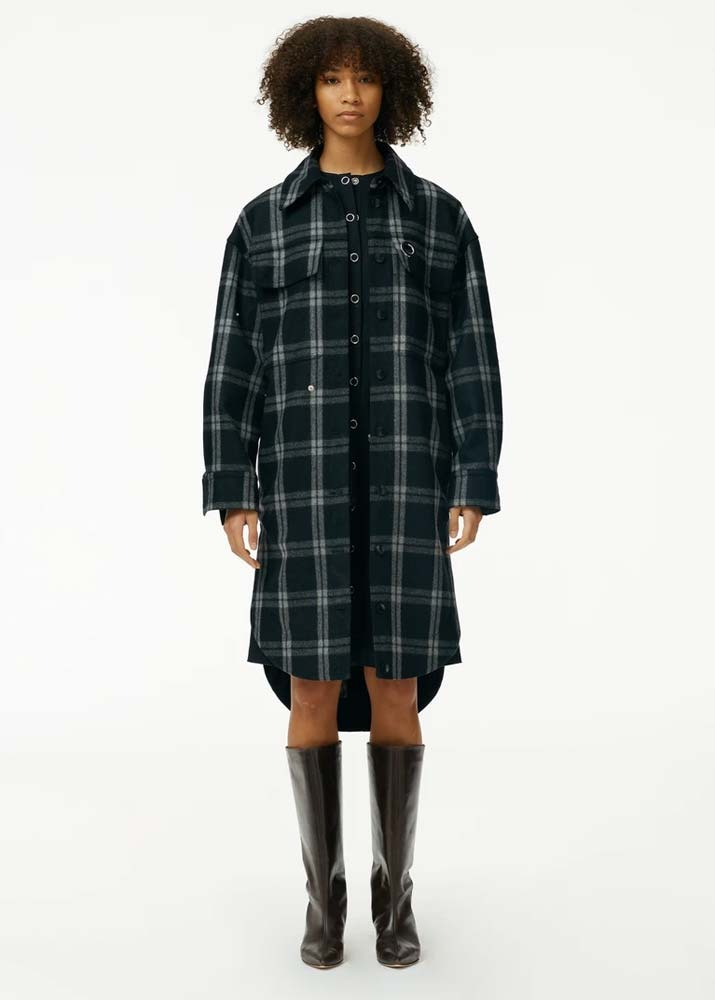 TIBI _ Recycled Chester Plaid Oversized Shirt Coat