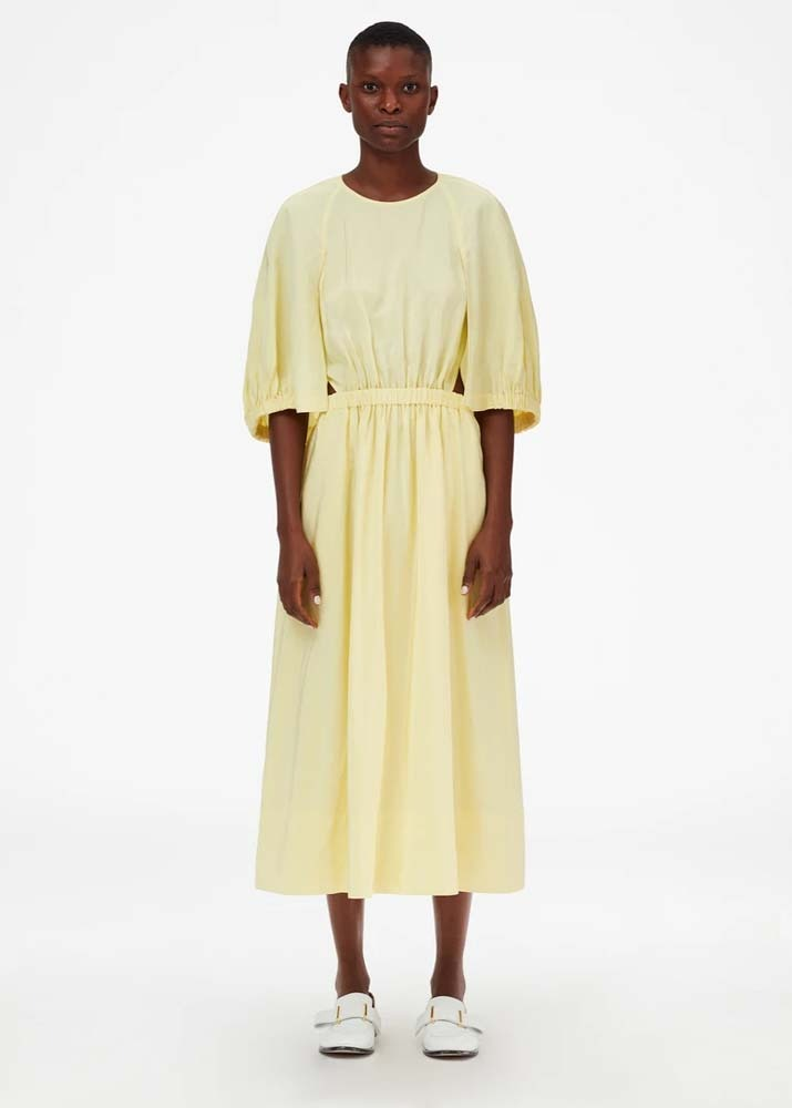 TIBI _ Gemma Viscose Shirred Waist Cape Dress